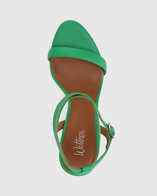 Raven Green Leather Open Toe Block Heel. & Wittner & Wittner Shoes