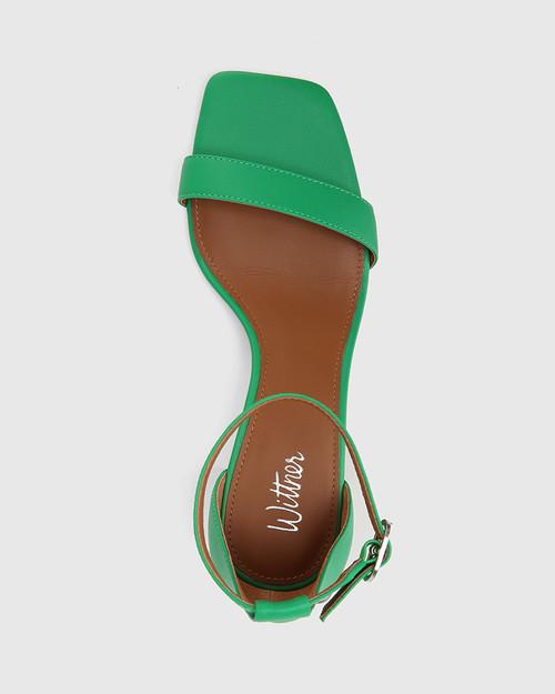 Gem Green Leather Transparent Heel Sandal. & Wittner & Wittner Shoes
