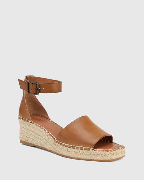 Krysta Tan Leather Espadrille Wedge Sandal.