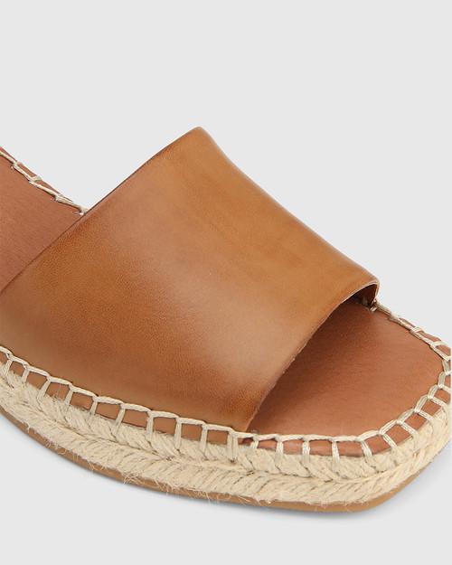 Krysta Tan Leather Espadrille Wedge Sandal. & Wittner & Wittner Shoes