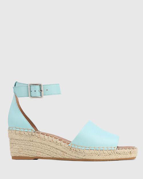 Krysta Baby Blue Leather Espadrille Wedge Sandal. & Wittner & Wittner Shoes