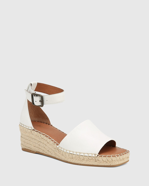 Krysta White Leather Esapdrille Wedge Sandal.