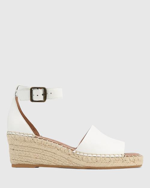 Krysta White Leather Esapdrille Wedge Sandal. & Wittner & Wittner Shoes