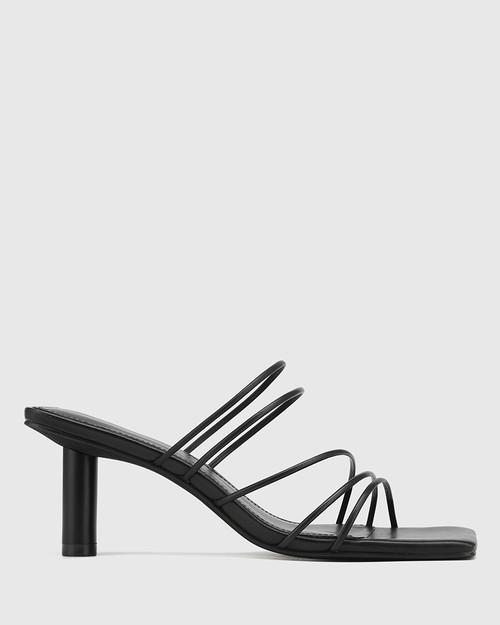 Klaire Black Leather Strappy Square Toe Sandal. & Wittner & Wittner Shoes
