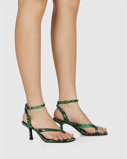 Charly Green Snake Print Leather Square Toe Sandal & Wittner & Wittner Shoes