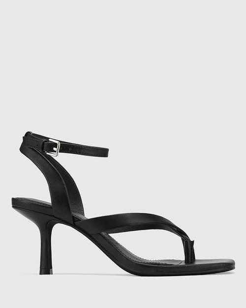 Charly Black Leather Square Toe Sandal & Wittner & Wittner Shoes