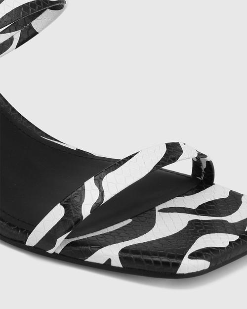 Kourtney Zebra Print Snake Leather Block Heel Sandal & Wittner & Wittner Shoes