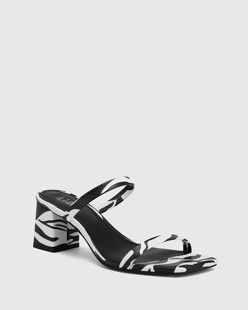 Kourtney Zebra Print Snake Leather Block Heel Sandal