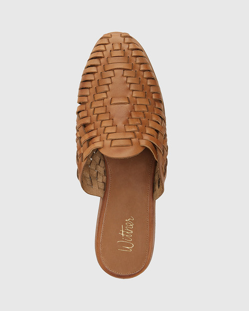 Hatisha Tan Leather Woven Flat Mule & Wittner & Wittner Shoes