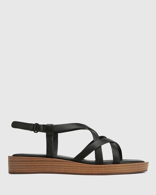 Etienne Black Leather Cross Strap Sandal & Wittner & Wittner Shoes