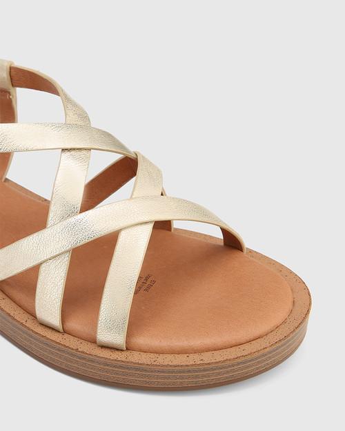Etienne Pearl Gold Leather Cross Strap Sandal & Wittner & Wittner Shoes