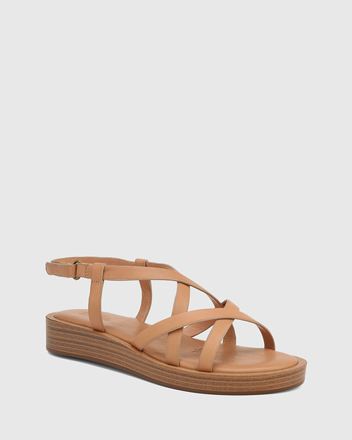 Etienne Desert Beige Leather Cross Strap Sandal
