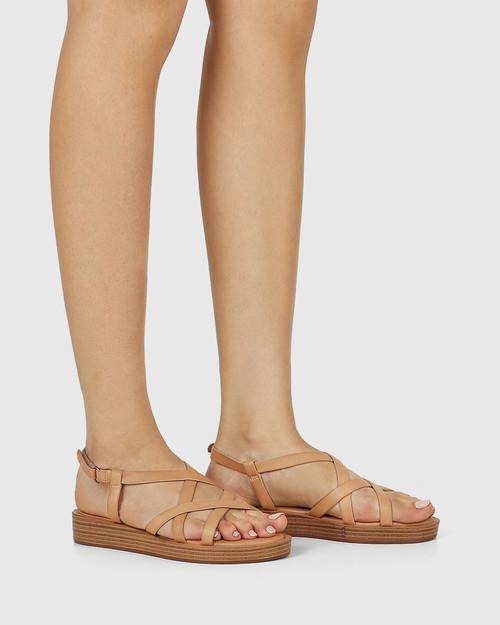 Etienne Desert Beige Leather Cross Strap Sandal & Wittner & Wittner Shoes