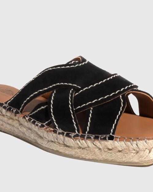 Usko Black Suede Stitched Espadrille Slide & Wittner & Wittner Shoes