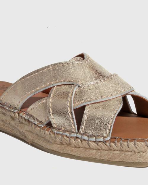 Usko Gold Leather Stitched Espadrille Slide & Wittner & Wittner Shoes