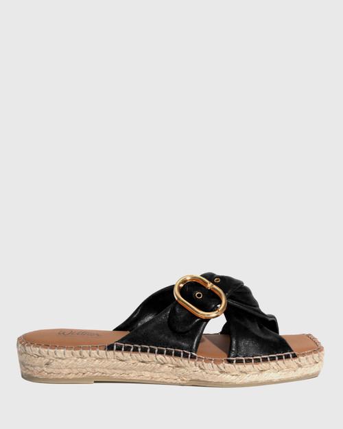 Uballe Black Washed Leather Espadrille Slide & Wittner & Wittner Shoes