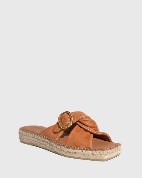 Uballe Tan Washed Leather Espadrille Slide