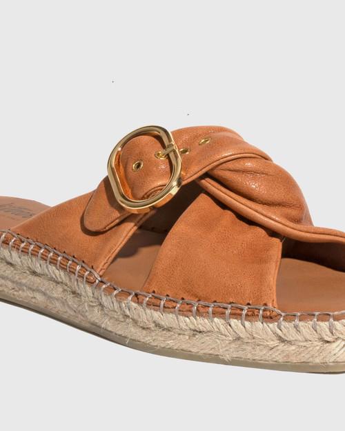 Uballe Tan Washed Leather Espadrille Slide & Wittner & Wittner Shoes