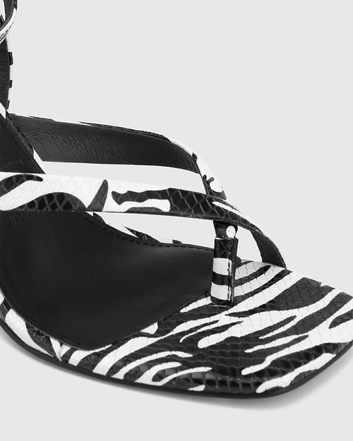 Charly Black And White Zebra Snake Print Leather Square Toe Sandal & Wittner & Wittner Shoes
