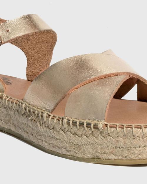 Ugata Gold Leather Espadrille Flatform Sandal & Wittner & Wittner Shoes
