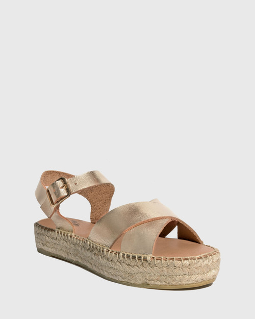 Ugata Gold Leather Espadrille Flatform Sandal