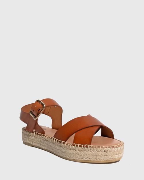 Ugata Tan Leather Espadrille Flatform Sandal