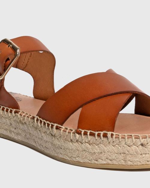Ugata Tan Leather Espadrille Flatform Sandal & Wittner & Wittner Shoes