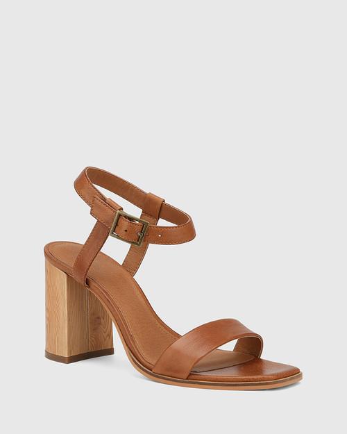 Pauline Dark Cognac Leather Block Heel Sandal