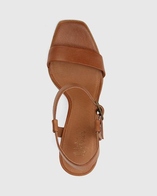 Pauline Dark Cognac Leather Block Heel Sandal & Wittner & Wittner Shoes