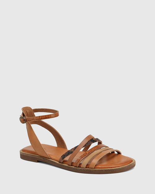 Cayenne Tan Multi Leather Flat Strappy Sandal