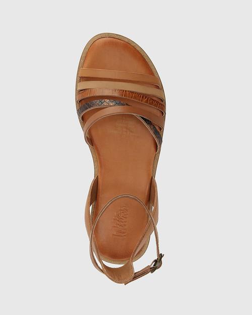 Cayenne Tan Multi Leather Flat Strappy Sandal