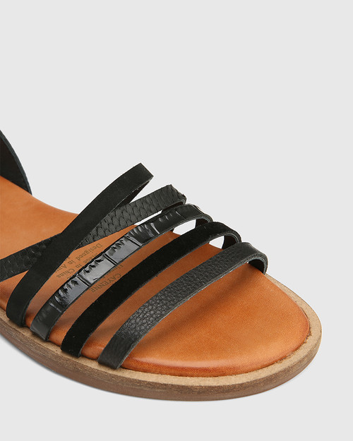 Cayenne Black Multi Leather Flat Strappy Sandal & Wittner & Wittner Shoes
