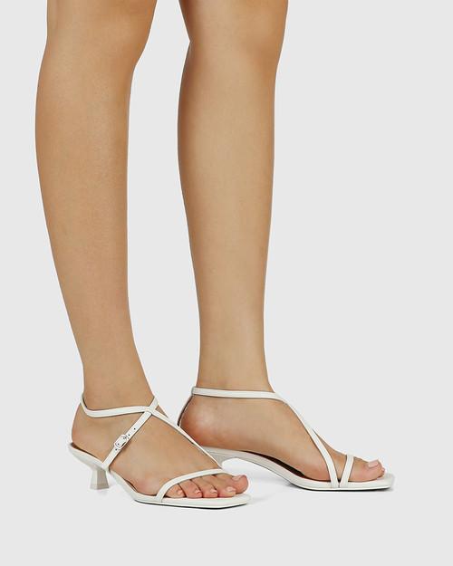 Jenelle White Leather Kitten Heel Sandal & Wittner & Wittner Shoes