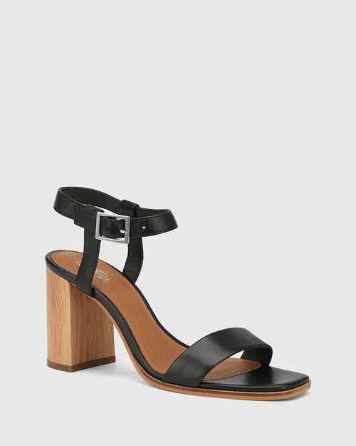 Pauline Black Leather Block Heel Sandal