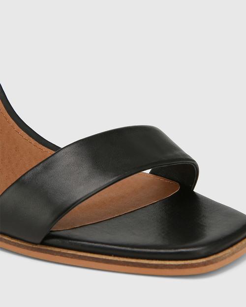 Pauline Black Leather Block Heel Sandal