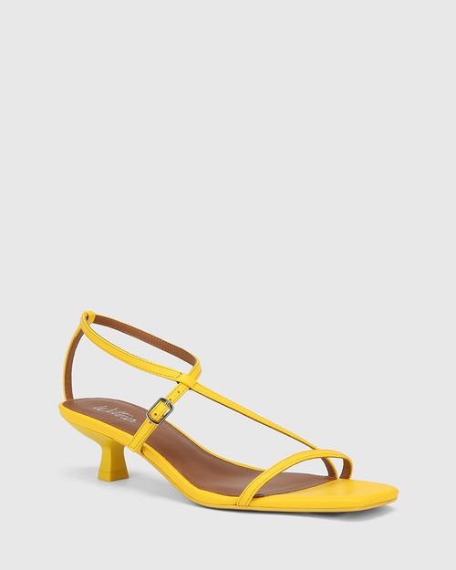 Jenelle Yellow Leather Kitten Heel Sandal
