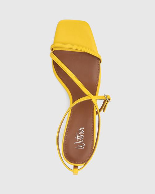 Jenelle Yellow Leather Kitten Heel Sandal & Wittner & Wittner Shoes