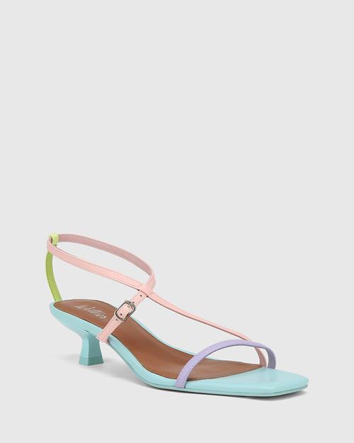 Jenelle Pastel Multi Leather Kitten Heel Sandal