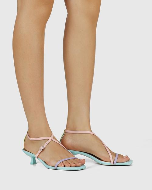 Jenelle Pastel Multi Leather Kitten Heel Sandal & Wittner & Wittner Shoes