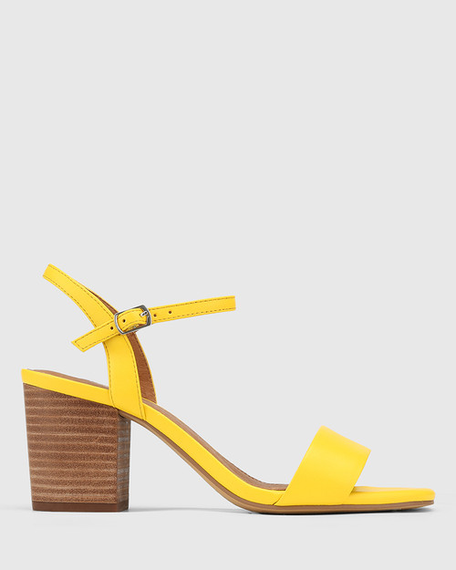 Collin Yellow Leather Block Heel Ankle Strap Sandal & Wittner & Wittner Shoes