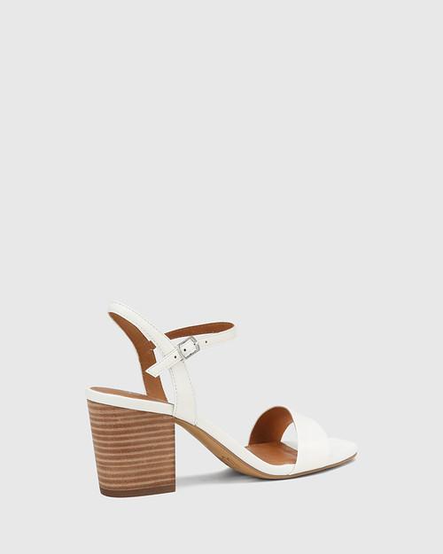 Collin White Leather Block Heel Ankle Strap Sandal & Wittner & Wittner Shoes