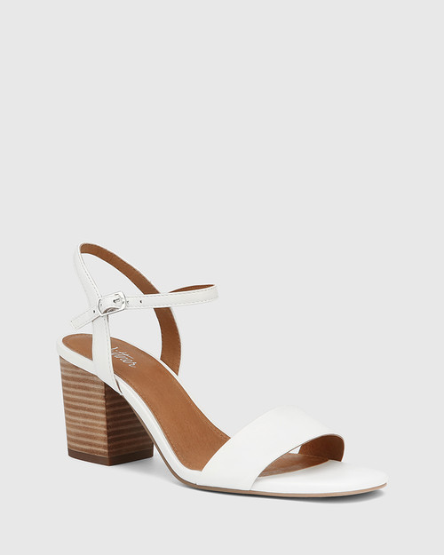 Collin White Leather Block Heel Ankle Strap Sandal
