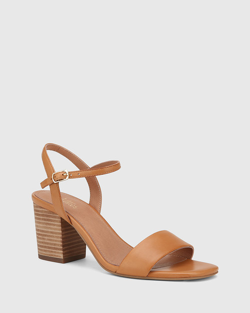 Collin Tan Leather Block Heel Sandal