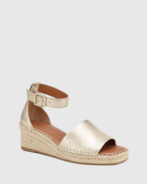 Krysta Pearl Gold Leather Espadrille Wedge Sandal.