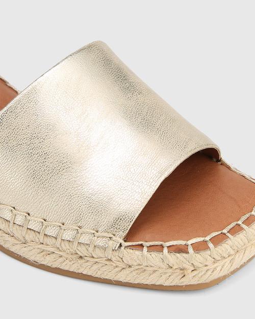 Krysta Pearl Gold Leather Espadrille Wedge Sandal.