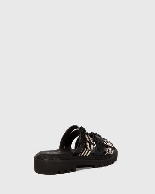 Flaming Animal Print Slip On Combat Sandal & Wittner & Wittner Shoes