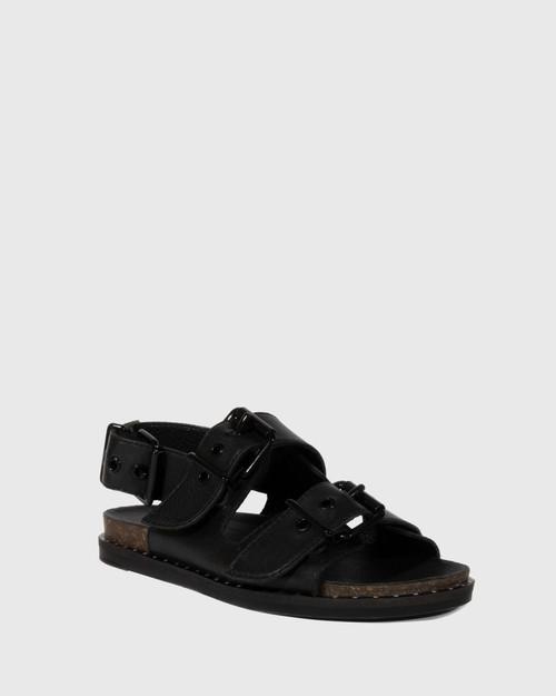 Fizz Black Leather Double Buckle Sandal