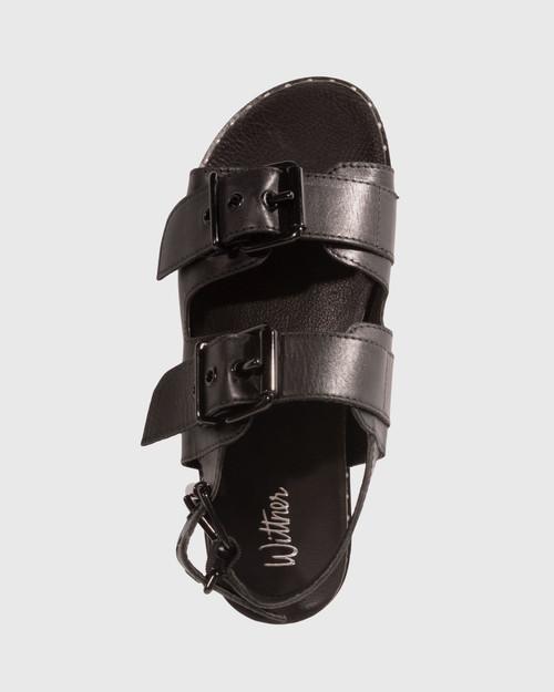 Fizz Black Leather Double Buckle Sandal & Wittner & Wittner Shoes