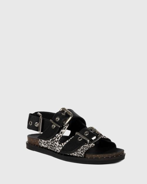 Fizz Animal Print Leather Double Buckle Sandal