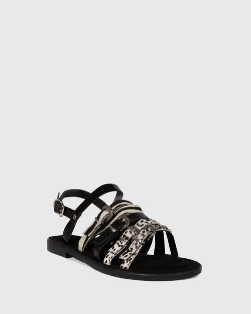 Festive Animal Print Leather Slingback Sandal
